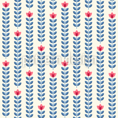 Rows Of Flowers Seamless Vector Pattern