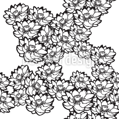 Water Lilies White Vector Design