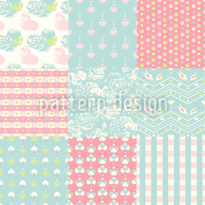 Patchwork Love Vector Design