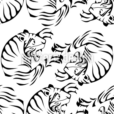 Tiger Black and White Repeating Pattern