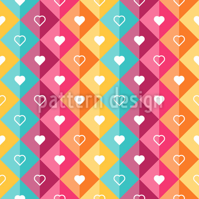 Hearts In Diamonds Seamless Vector Pattern