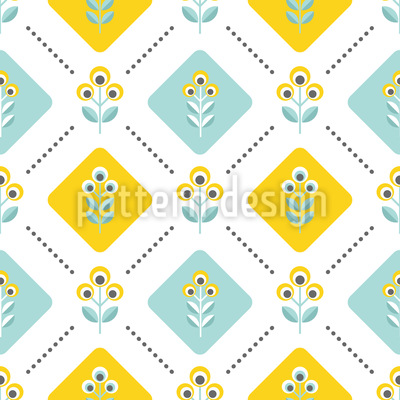 Retro Folk Flowers Seamless Pattern