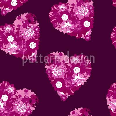 Florale Herzen Nahtloses Vektor Muster