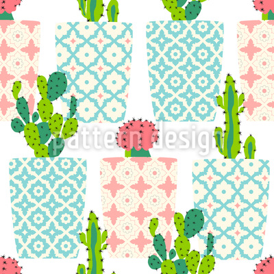 Cactus Pots Repeating Pattern