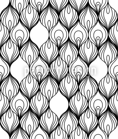African Filaments Black and White Repeating Pattern