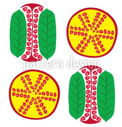 Granatapfel Querschnitt Vektor Muster