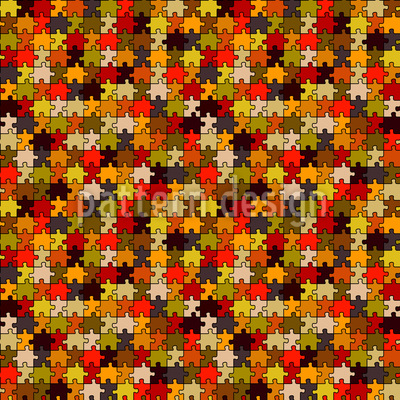 Retro Puzzle Seamless Vector Pattern