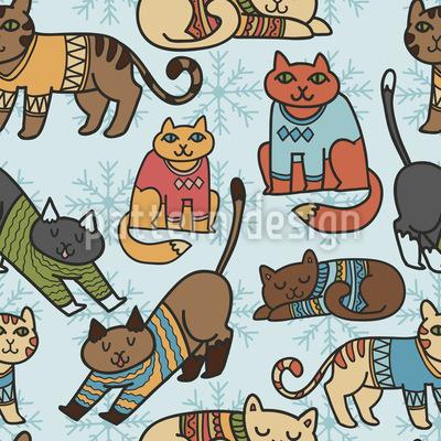 Winter Cats Vector Design