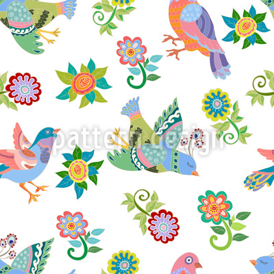 Birds And Flowers Repeat Pattern