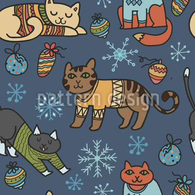 Christmas Cats Pattern Design