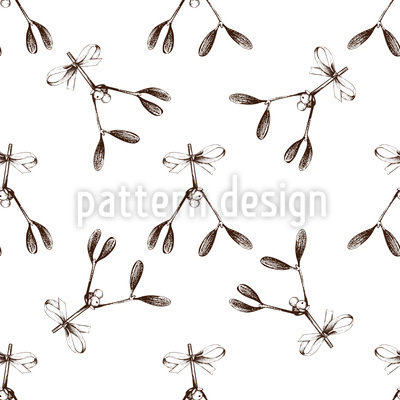 Vintage Mistletoe Seamless Vector Pattern