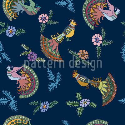 Folklore Peacocks Repeating Pattern