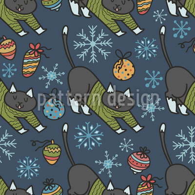 Christmas Cats in Sweaters Design Pattern
