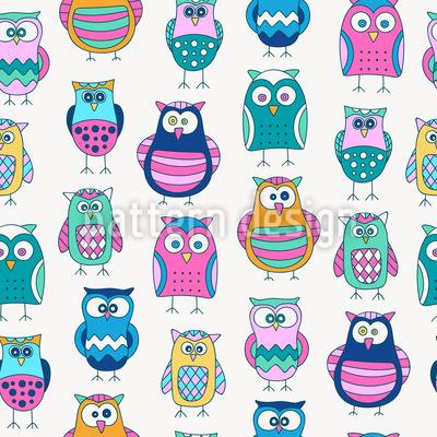 Cartoon Owls Seamless Pattern