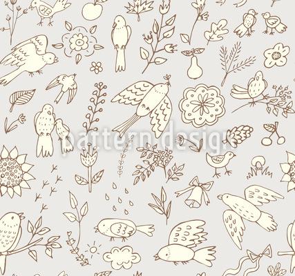 Frühlings Vögel Mit Blumen Muster Design