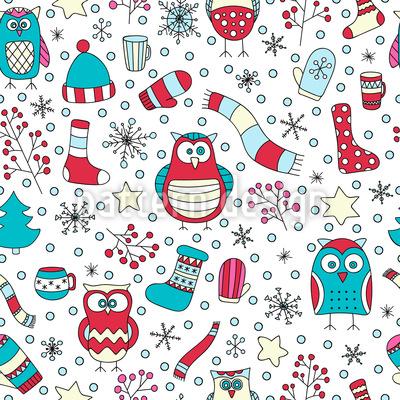 Winter Spass mit Eulen Vektor Muster