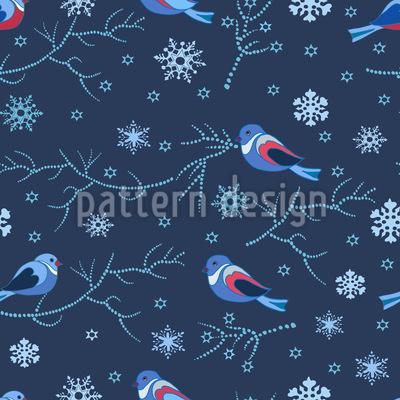 Vögel Im Winter Nahtloses Muster