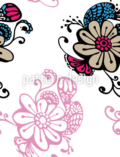 Magic Flowers Doodle Design Pattern