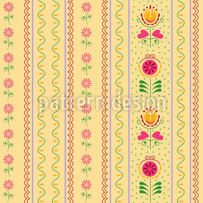 Florets and Tulips Pattern Design