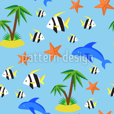 Tropical Island Seamless Vector Pattern