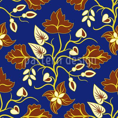 Ethno Blätter Blau Vektor Ornament