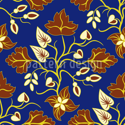 Ethno Leaves Blue Vector Ornament