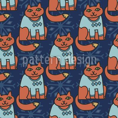 The Winter Cats Seamless Pattern