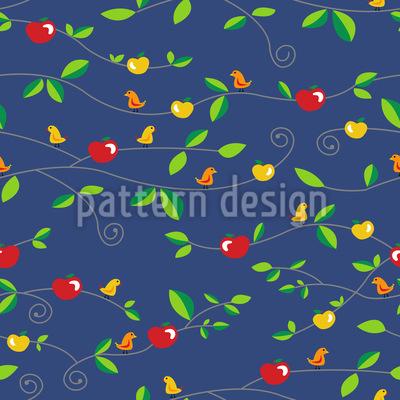 Vögel Äpfel Blätter Rapportiertes Design