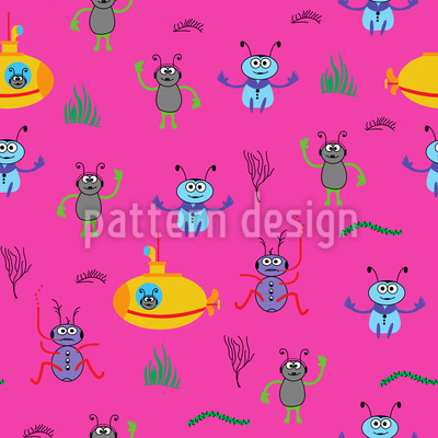 Beetles Go Diving Vector Pattern