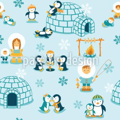 Schneeland Familie Vektor Ornament