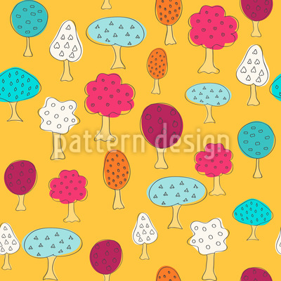 Magnificent Fruit Trees Vector Pattern