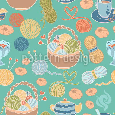 Knitting With Love Seamless Pattern