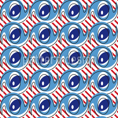Crazy Eyes on Stripes Vector Ornament