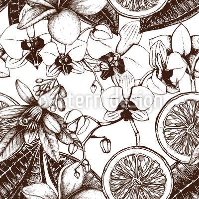 Vintage Exotische Blumen Musterdesign