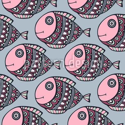 Lustige Fisch Reise Rapportiertes Design
